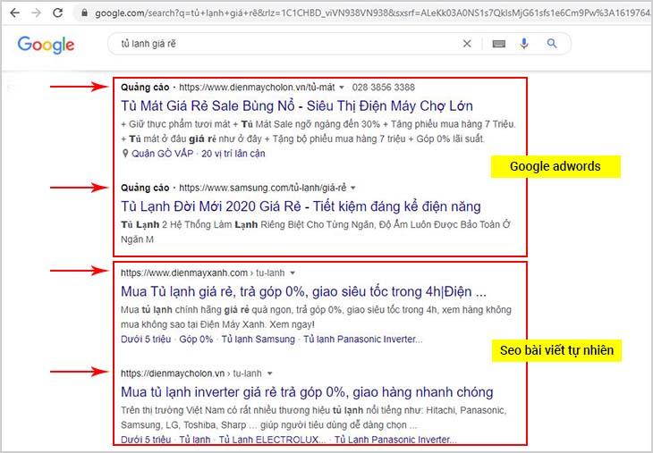 Ảnh minh họa quảng cáo google adwords và quảng cáo seo bài viết tự nhiên