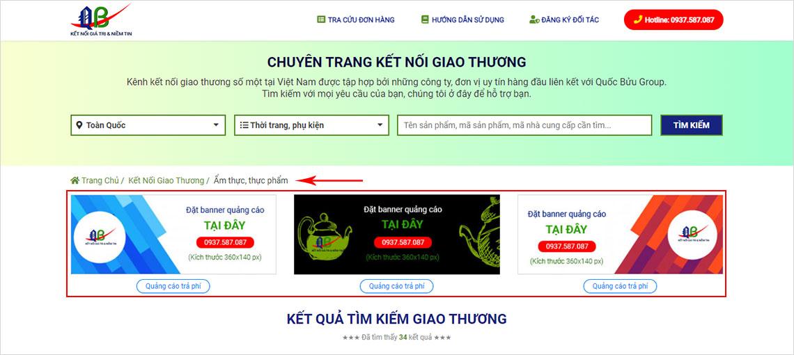 Đặt banner quảng cáo tại trang tìm kiếm giao thương (danh mục cấp 1) - www.quocbuugroup.com