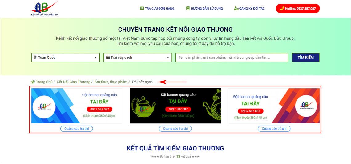 Đặt banner quảng cáo tại trang tìm kiếm giao thương (danh mục cấp 2) - www.quocbuugroup.com