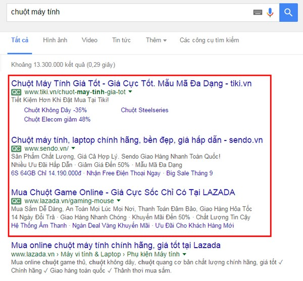 Điểm khác nhau cơ bản của quảng cáo Google Adwords và quảng cáo seo bài viết tự nhiên