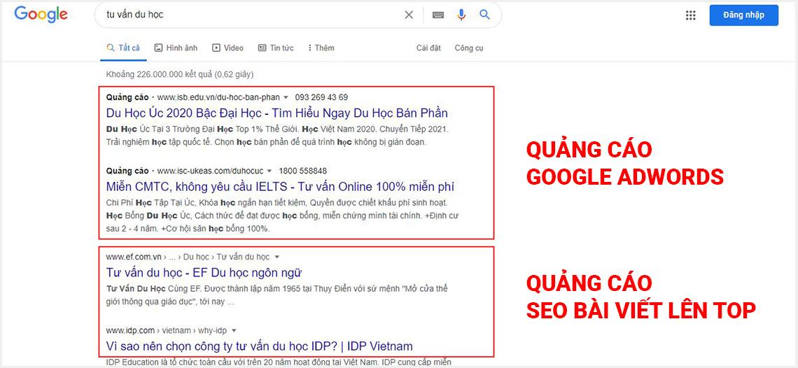 Quảng cáo google adwords và quảng cáo seo bài viết uy tín tại tphcm