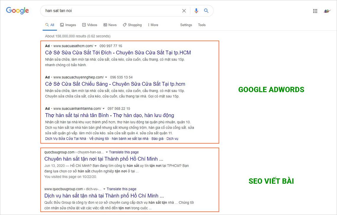 Dịch vụ chạy google adwords và seo web lên top google uy tín tại tphcm
