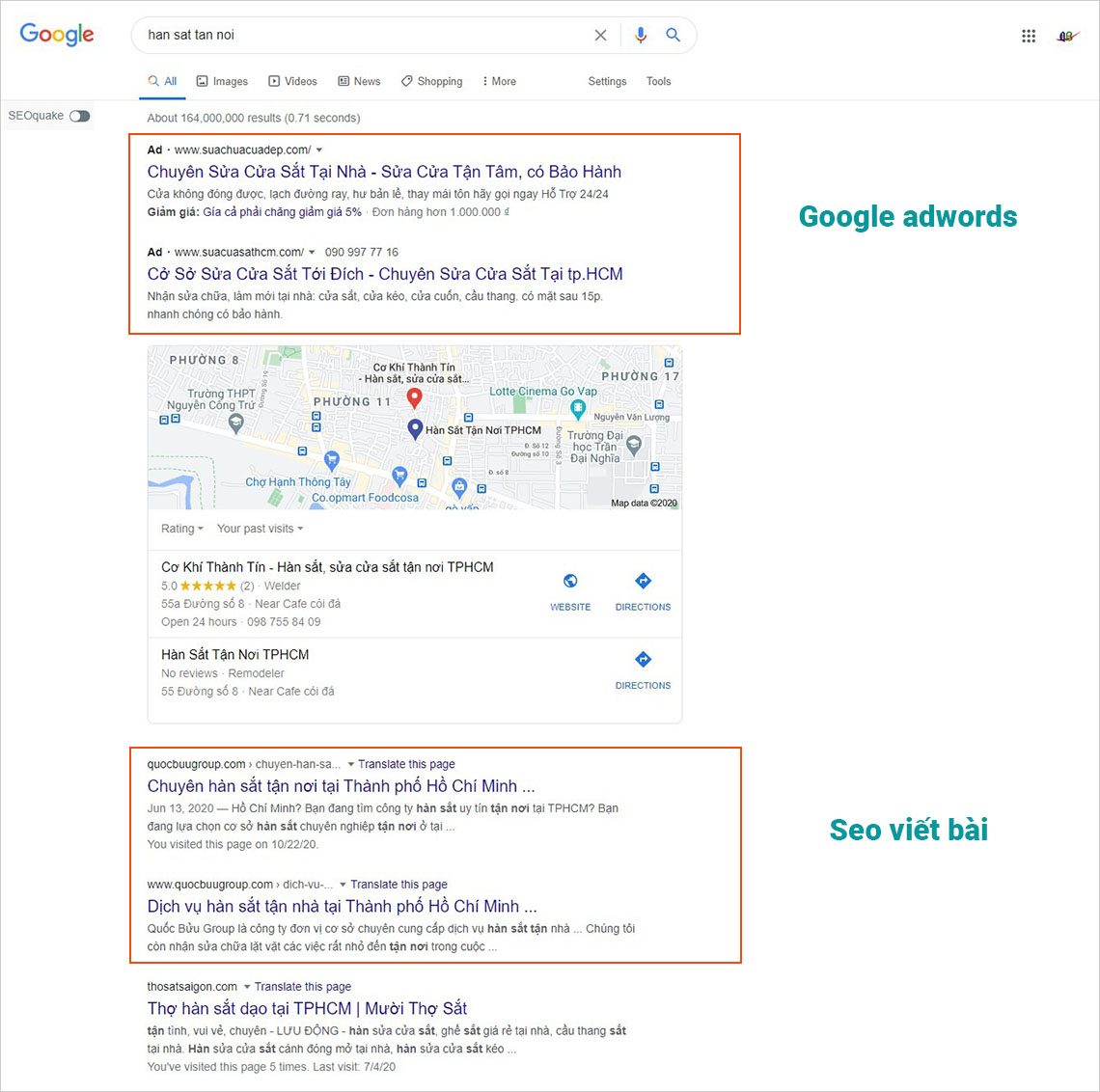 Quảng cáo google adwords và viết bài chuẩn seo lên top google