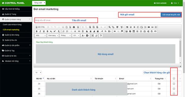 Chọn khách hàng, viết nội dung, và gửi