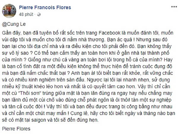 Nội dung võ sư Flores đăng lên Facebook