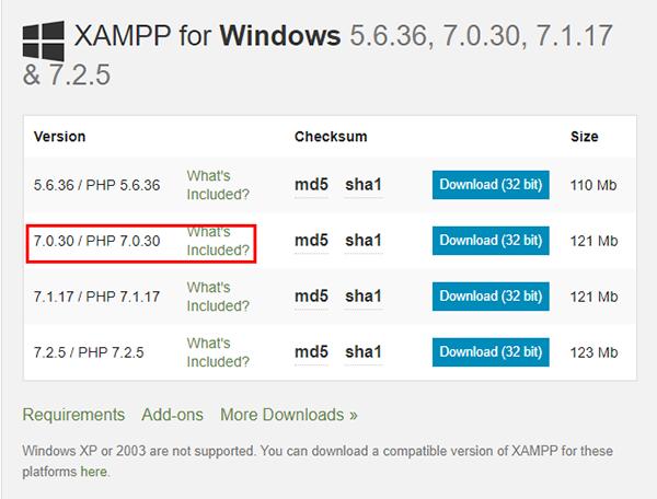 Chọn phiên bản PHP 7