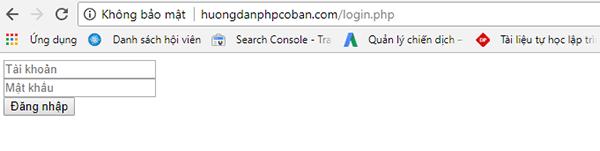 Form đăng nhập bằng php