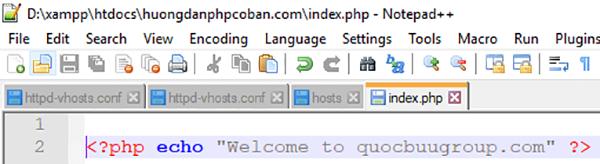 Thêm đoạn code vào file index.php